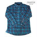 【ラス1】PHANTOM NYC Cotton Check Flannel Shirt(Blue)