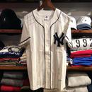 "Majestic ""Yankees"" Stripe Cotton Baseball shirts(White×Navy)"