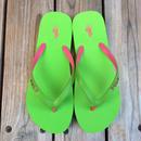 """【ラス1】POLO RALPH LAUREN """"Big pony """" Womens Beach sandal (Lime/Pink)"""