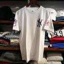 """Majestic """" NY sleeve logo"""" tee (White×Navy)"""