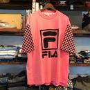 【残り僅か】FILA box logo check sleeve tee(Pink)