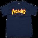 THRASHER MAGAZINE FLAME LOGO T SHIRTS - NAVY