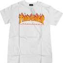THRASHER MAGAZINE FLAME LOGO T SHIRTS - WHITE