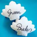 Wedding Pair Shell Cushions♡ウェディングペアシェルクッション Braide Groom文字入り特別価格!