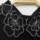 ■ 黒色ふんわりふわっふわフラワー刺繍の付け襟【No.0156】