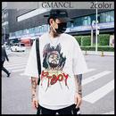 【GMANCL】2color ラッパーフェイスプリント半袖Tシャツ