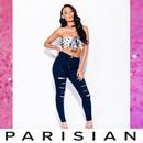 【取り寄せ】【Parisian】ハイウエストスラッシュリップスキニーパンツ