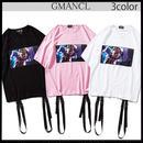 【GMANCL】3color アニメプリントベルト付き半袖Tシャツ