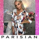 【即納】【Parisian】フローラルサテンシャツワンピース/ホワイト