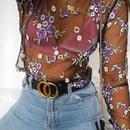 【クリックポストOK】【取り寄せ】花柄刺繍シースルーメッシュ長袖トップ