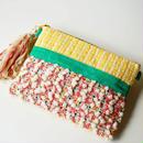 手織りのオリジナル生地で作った、クラッチバッグ(イエロー)
