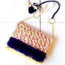 手織りのオリジナル生地で作った、ショルダー&クラッチ2wayバッグ(イエロー)