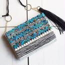 手織りのオリジナル生地で作った、ショルダー&クラッチ2wayバッグ(ブルー)
