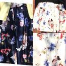 サテン花柄スカート