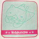 ねこぶちジャガードミニタオル(薄緑)《送料無料》51856002