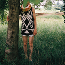 Geometric one‐piece dress