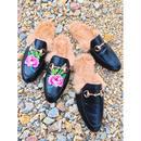 Leather fur slipper sandal