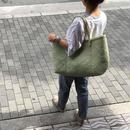 pips palm leaf basket tote green /ピップス/ パームリーフバスケットバッグ