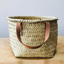 pips /  palm leaf basket tote bag with leather handle / brown   / ピップス/ パームリーフバスケットバッグ/ブラウン