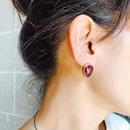 ishi jewelry / earring sencillo garnet  / イシ ジュエリー / ブラス片耳ピアス /ガーネット