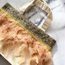 フェザートートバッグ(ブラウン)/Grege feather Bag