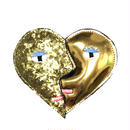heart shape brooch/glitter gold
