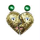 heart shape earrings(pierced earrings)/glitter gold