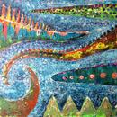 恐竜のしっぽの絵「Oppo musica」左藤芳美 ST008