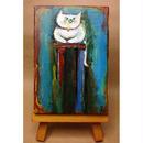 ST038猫の絵「香箱パトロール」左藤芳美