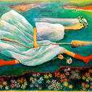 アクリル画「やじるし姫」 257×364mm