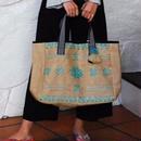 AIC エーアイシー 11758920 ジュート刺繍トートBAG  TURQUOISE