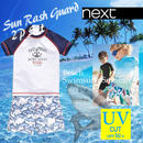 ▷◁ UPF+50 NEXT男の子 キッズ ホワイトシャーク 水着 2点セット半袖 ラッシュガード2点セット スイムスーツ上下セット★
