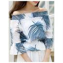 【オフショル トップス】オフショルダー トップス tシャツ 五分袖 花柄 カットソー シャツ 白 レディース ホワイト、ブルー、レッド 送料無料