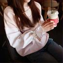 お買い得☆袖シャツ プルオーバー カットソー くしゅっと袖 ピンク×ホワイト