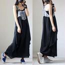 ジャンパースカート ワンピース デニム風 シフォン 切り替え サロペット風 オーバーオール風 M~3XL 大きいサイズ 送料無料