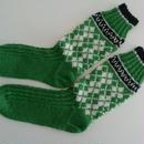 手編みの靴下(アーガイル )グラスグリーン