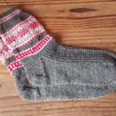 手編みの靴下(編み込み模様)
