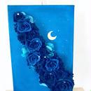 【プリザーブドフラワー/星空のキャンバスアレンジ】青い星空の色に染まった青い薔薇の神秘【送料無料フラワーケースリボンラッピング付き】