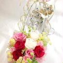 【プリザーブドフラワー/ガラスの靴シリーズ】美しい花園で見つけた薔薇色の花と蝶々の魔法【リボンラッピング付き】