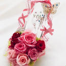 【プリザーブドフラワー/ガラスの靴シリーズ】薔薇色の靴にティアラとpapillonの魔法にかけて