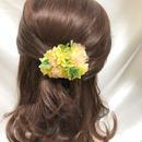 【プリザーブドフラワー/ヘアアクセサリーシリーズ/本当の紫陽花の髪飾り】フレッシュな3色の紫陽花を使用した明るくキュートな髪飾りミニサイズ