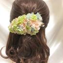 【プリザーブドフラワー/ヘアアクセサリーシリーズ/本当の紫陽花の髪飾り】眺めるだけで幸せな気分。宝石箱にしまっておきたいようなパステル色の髪飾り【 ラッピング付き】