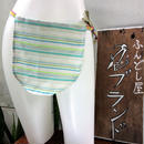 ふんどし女子【くノ一緑縞柄Tバック】綿+リネン01 ShiNoBi Samurai Under Wear Kunoichi Green Stripe01 Cotton& Linen T-Back