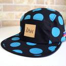 """""""DOT"""" 5 PANEL CAP (BLACK/CYAN) made in japan (SH19020DOT)"""