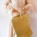 Siasal Basket  / LL / Lleather wrapped handle - Kahki