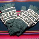 アルパカ100% 手編みてぶくろ 指なし・取り外しできるカバー付き Lサイズ グリーン