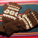 アルパカ100% 手編みてぶくろ 指なし・取り外しできるカバー付き Lサイズ 黒