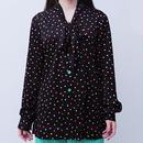 Ribbon tie dot blouse