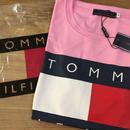 大人気!TOMMY HILFIGER トミーヒルフィガーTシャツ 半袖 タグ付き 男女兼用 ピンク