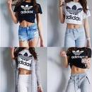 夏定番!アディダスショートTシャツ 半袖 白 黒